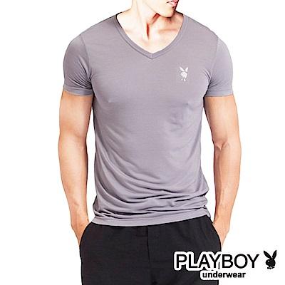 PLAYBOY 速乾機能服 排汗速乾透涼V領短袖衫(淺駝灰)