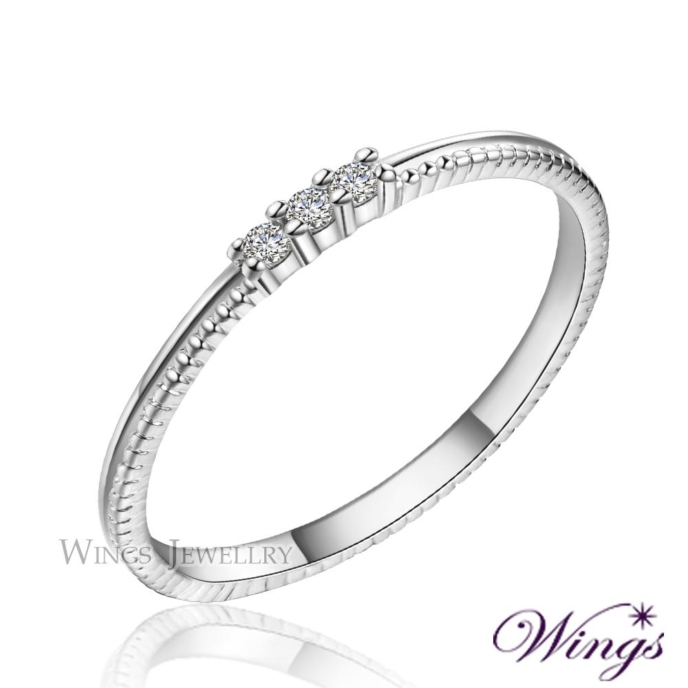 【WINGS】星空 纖細美麗的優雅 精鍍白K金戒指 尾戒 聖誕(擬真鑽 鑽戒 尾戒 對戒) NW113