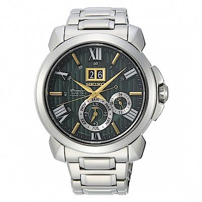 SEIKO Premier廣告款人動電能萬年曆腕錶/7D56-0AF0G/SNP155J1