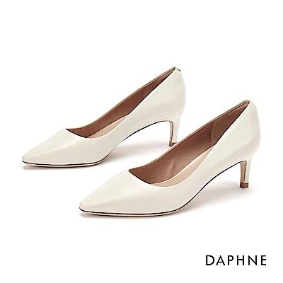 達芙妮DAPHNE 高跟鞋-高雅素面真皮高跟鞋-米白