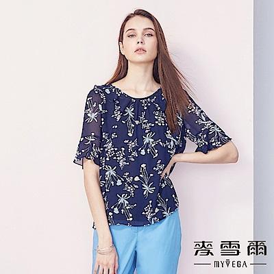 【麥雪爾】日系荷葉領花卉雪紡五分袖上衣