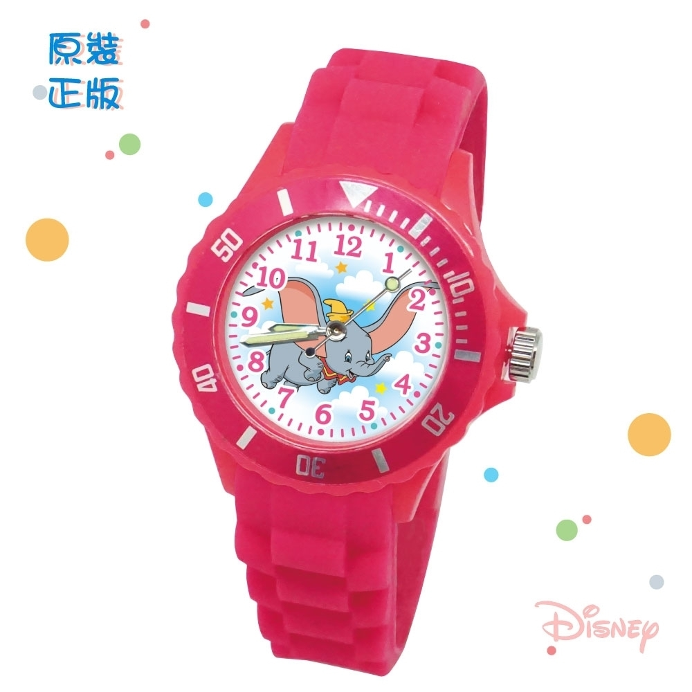 DISNEY迪士尼 Dumbo小飛象中型運動彩帶錶35mm桃紅色