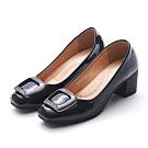 A one  漆皮小方頭方框鑽飾粗跟 中跟鞋-黑色
