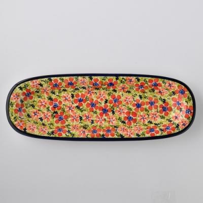 波蘭陶 繁花艷野系列 長方形餐盤 13X37cm 波蘭手工製