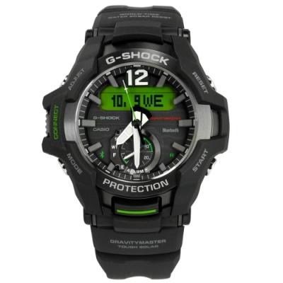 G-SHOCK CASIO 太陽能 藍牙連線 雙顯 防水 橡膠手錶-黑綠色/49mm