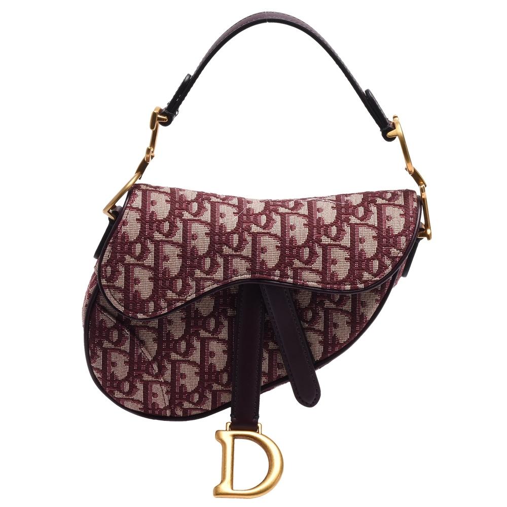 Dior SADDLE系列經典OBLIQUE緹花布小牛皮飾邊磁釦手提包(紅)
