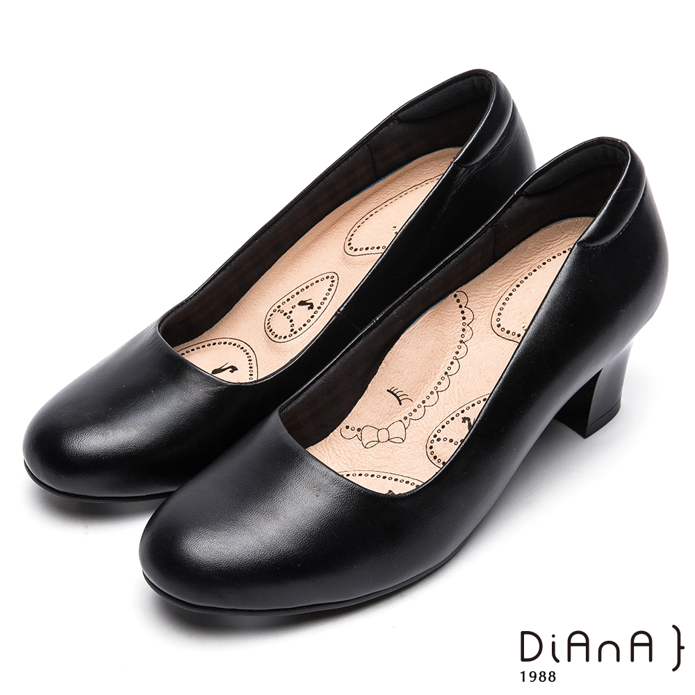 DIANA輕彈OL舒適5.5公分粗跟制鞋-漫步雲端布朗尼美人款黑