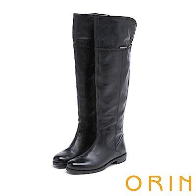 ORIN 時髦簡約 經典素面牛皮過膝長靴-黑色