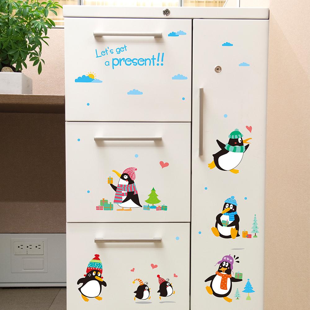 半島良品 DIY無痕壁貼-禮物企鵝 XL7117 50x70cm