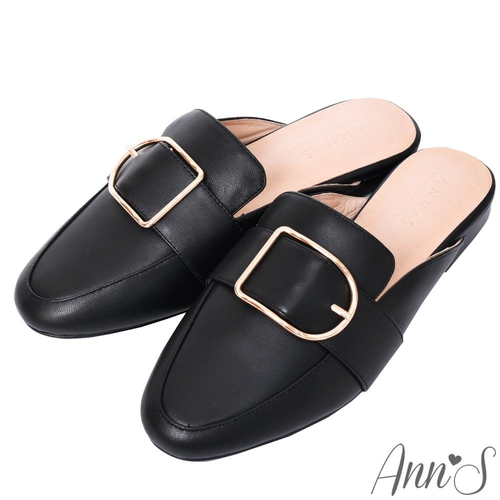Ann'S質感真小羊皮D型扣帶穆勒鞋-黑(版型偏小)