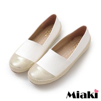 Miaki-懶人鞋時尚拼色舒適休閒鞋-白