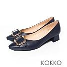 KOKKO - 復古時尚小方頭羊皮梯型粗跟- 黯藍