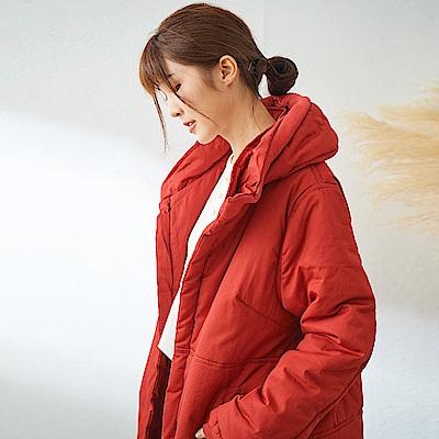 慢 生活 防風高領中長款夾棉外套-橘紅/深綠