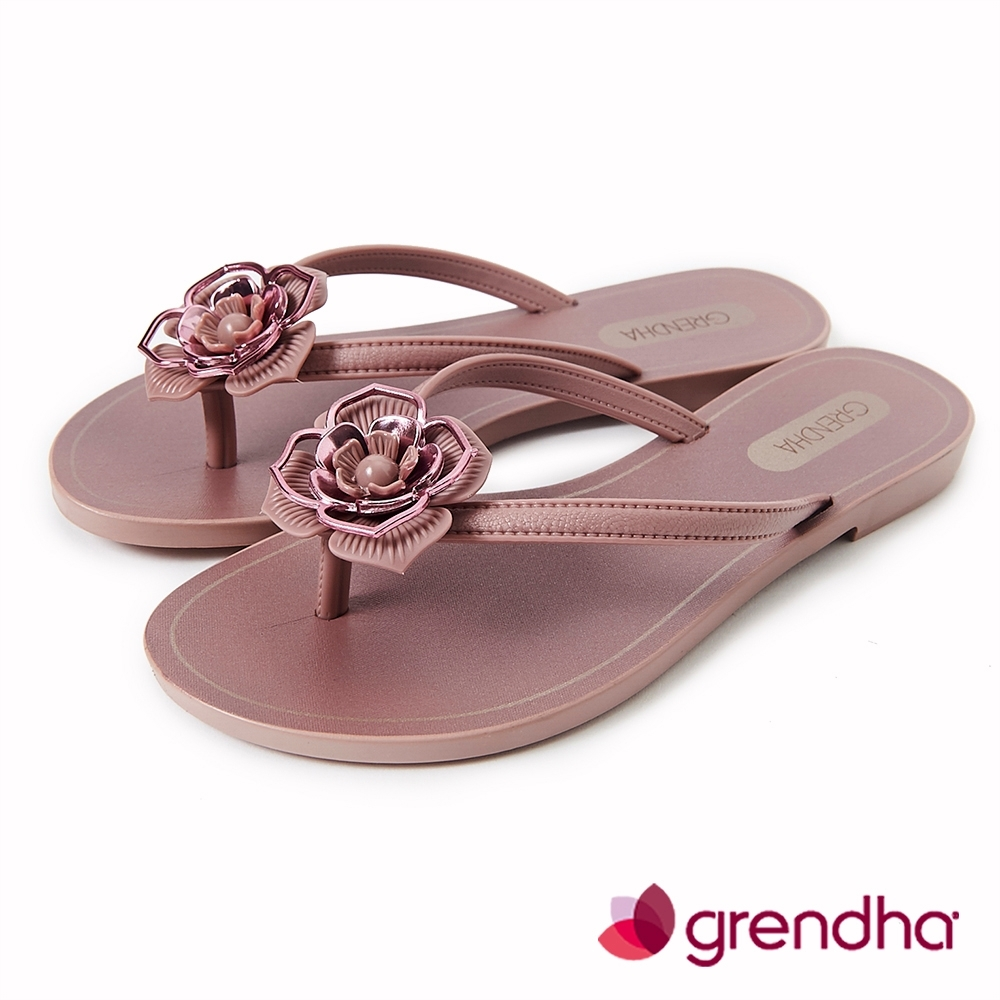 Grendha 拜占庭玫瑰夾腳鞋-灰玫紅