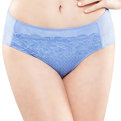 思薇爾 花霓系列M-XXL蕾絲中腰三角內褲(長春藍)