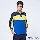 Nautica撞色條紋長袖POLO衫-黃藍