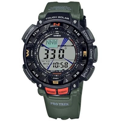 PRO TREK CASIO 卡西歐 太陽能 戶外登山系列 三重傳感器 防水 手錶-墨綠色/50mm
