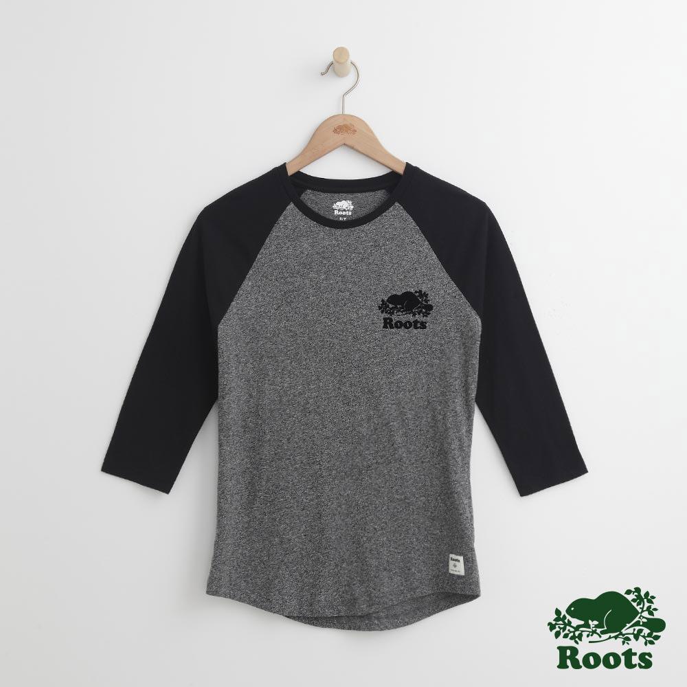 Roots -女裝- 海狸七分棒球T恤 - 黑