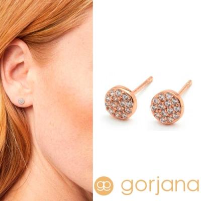 GORJANA滿鑽迷你圓 玫瑰金鑲鑽錢幣耳環Pristine Shimmer Studs