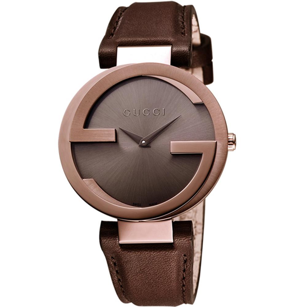 GUCCI 古馳 Interlocking 雙G咖啡金女錶(YA133309)x37mm