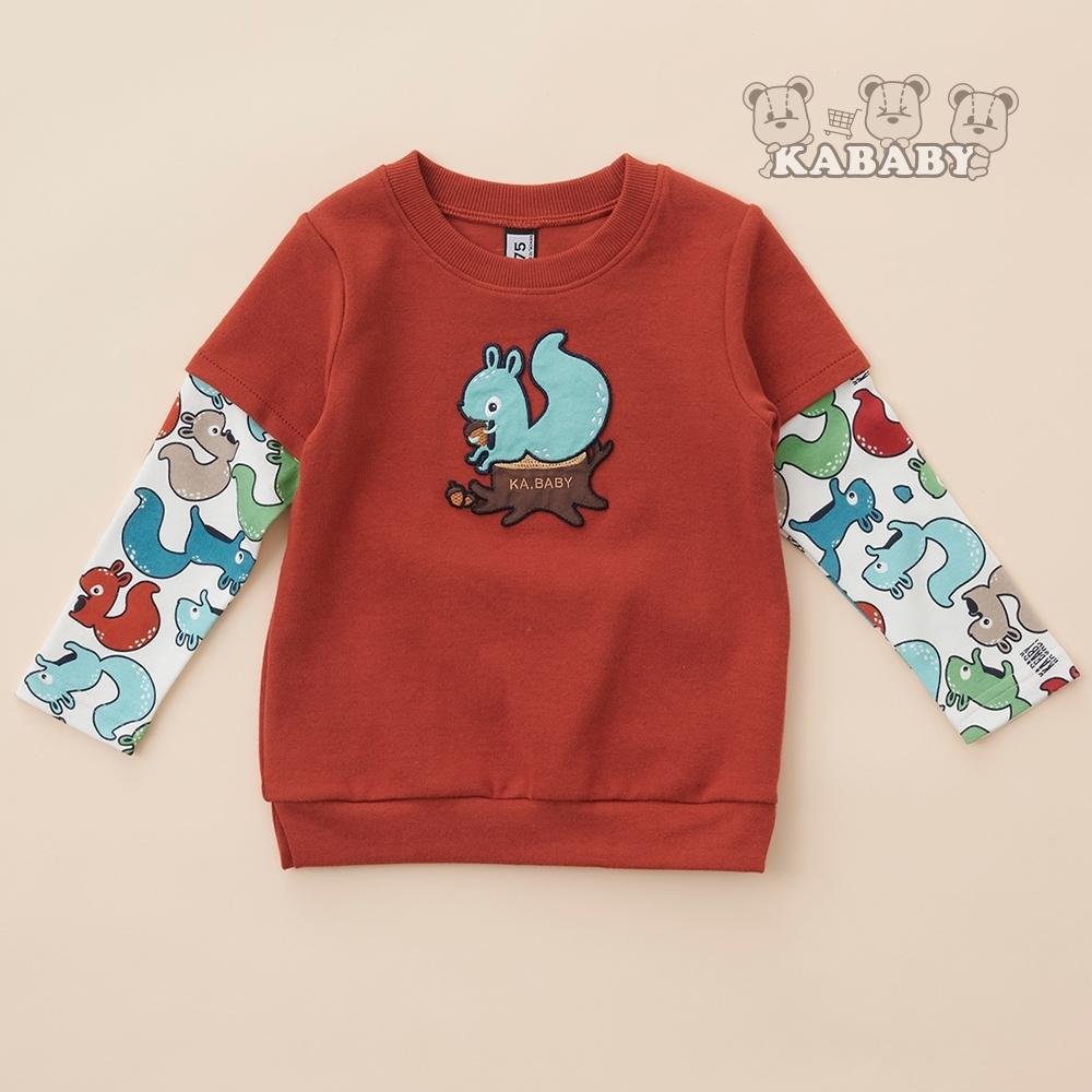 【金安德森】拼接素色+滿版好朋友松鼠長上衣(共三色)65-105
