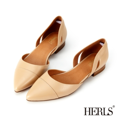 HERLS 輕恬優雅 內真皮鏤空造型尖頭平底鞋-淺駝色