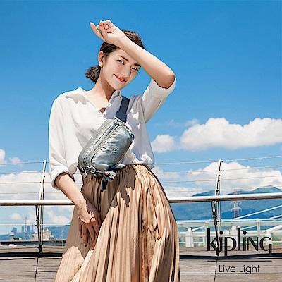Kipling 個性金屬銀灰色雙拉鍊方形側背腰包-AKPA