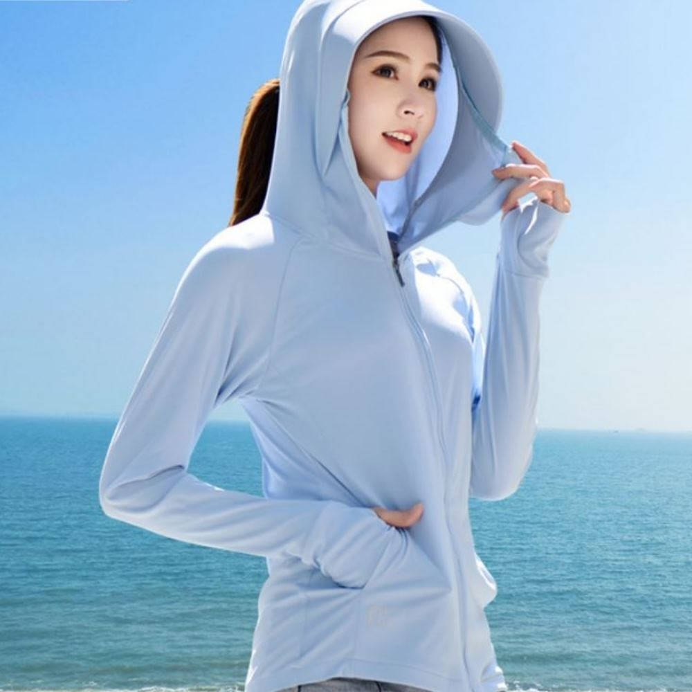 La Belleza涼感防紫外線薄款透氣冰絲防曬拼接大帽子拉鍊外套 product image 1
