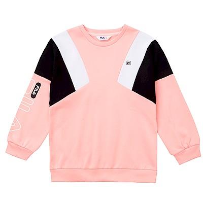 FILA KIDS 童吸濕排汗刷毛長版上衣-粉紅 5TES-8417-PK