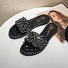 韓國KW美鞋館 流行穿搭獨特閃亮平底拖鞋-黑色