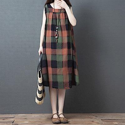 初色  格紋無袖連身裙-共2色-(M-2XL可選)