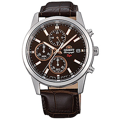 ORIENT 透徹時光三眼計時運動石英腕錶皮帶(FKU00005T0)-咖啡x42mm