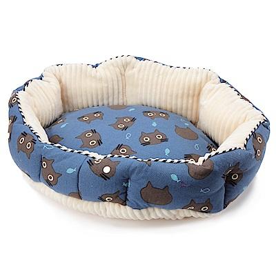 petique 百嬌客 寵物圓床 (藍底黑頭貓)