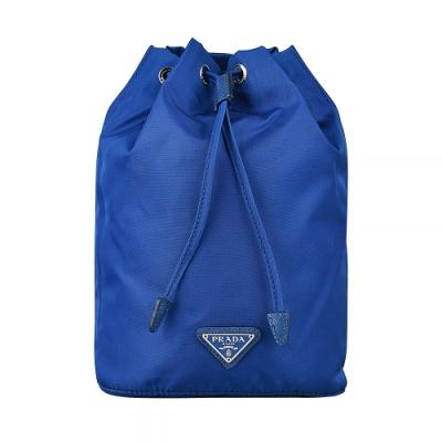 PRADA 鐵牌LOGO尼龍束口化妝包(藍)