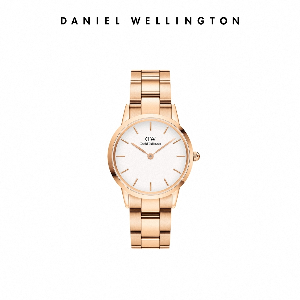 DW 官方直營 Iconic Link 28mm精鋼錶-特調玫瑰金 DW手錶 女錶
