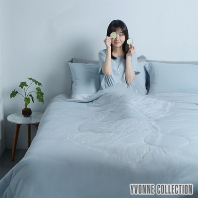 YVONNE COLLECTION 膠原美膚手繪愛心雙人四季被(6x7呎)-淺灰藍