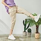 慢 生活 高彈性棉料蘿蔔褲- 杏/黑