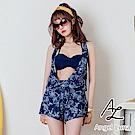 【AngelLuna日本泳裝】深V深藍印花三件式比基尼泳衣