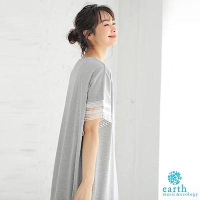 earth music 袖鏤空幾何蕾絲拼接連身洋裝