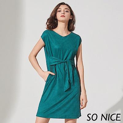 SO NICE優雅綁帶麂皮絨洋裝