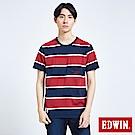 EDWIN 復古條紋口袋 短袖T恤-男-朱紅