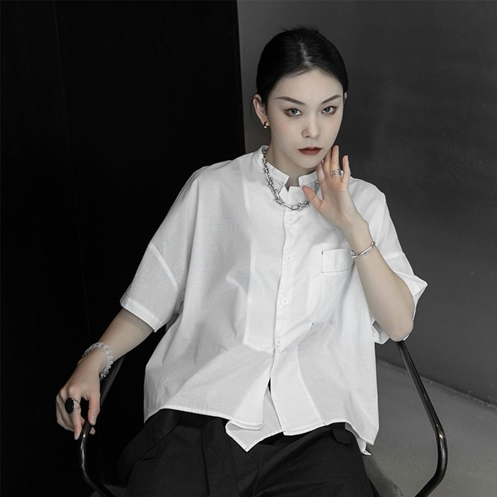 設計所在Style-暗黑日系風寬鬆不規則韓版立領短袖襯衫