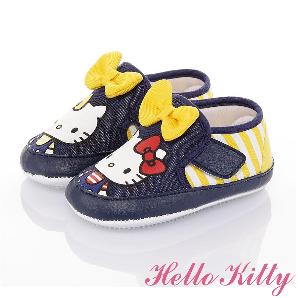 Hello Kitty童鞋 雙胞胎系列 輕量減壓寶寶學步鞋-藍黃