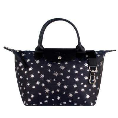 Longchamp LE PLIAGE 星星印花帆布小型肩背/手提包(機師藍)