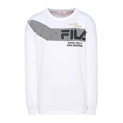 FILA 男款長袖吸濕排汗圓領T恤-白 1TES-5453-WT