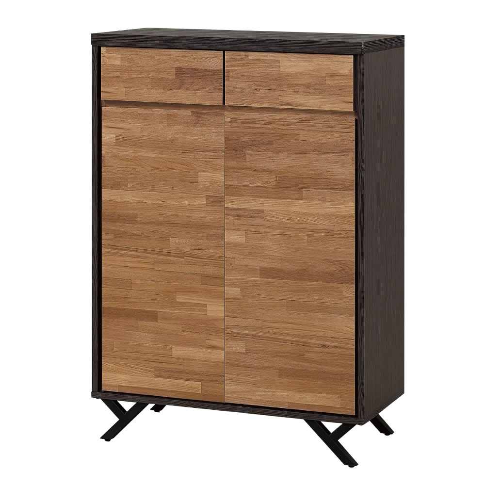 文創集 路華現代2.7尺木紋二門鞋櫃/玄關櫃-80x40x119cm免組