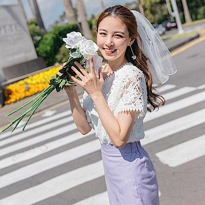 婚禮系列~滿版鏤空蕾絲雕花純色上衣-OB大尺碼