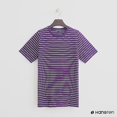 Hang Ten - 女裝 - 簡約韓系細條紋短T - 紫白條