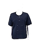 TORY BURCH Channing 縷空袖深藍色刺繡織花針織衫