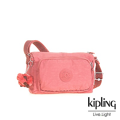 Kipling 薔薇粉前袋拉鍊側背包(小)